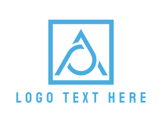 Blue Triangle - Blue Letter A  logo design