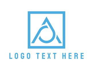 Water - Blue Letter A  logo design