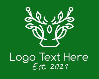 Antlers - White Plant Antlers logo design