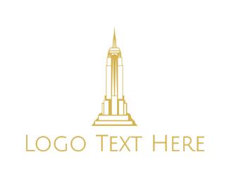 New York City - Gold Sharp Tower logo design