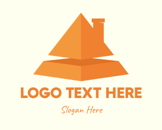 Pyramid - Orange Pyramid House logo design