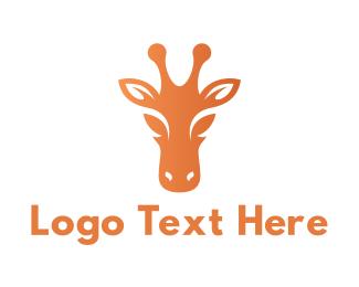 Animal Shelter - Orange Giraffe Head logo design