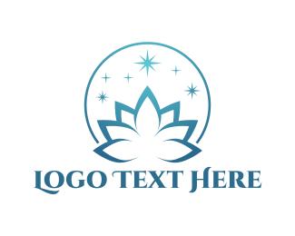Spiritual - Blue Lotus  logo design