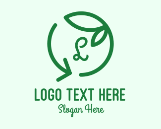 Recycle - Green Recycle Leaf Letter logo design