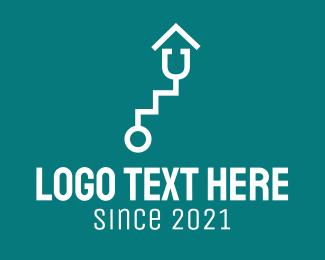 Ladder - White Stethoscope Stairs logo design