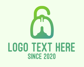 Unlock - Green Respiratory Lung Unlock logo design