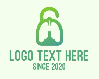 Breathe - Green Respiratory Lung Unlock logo design