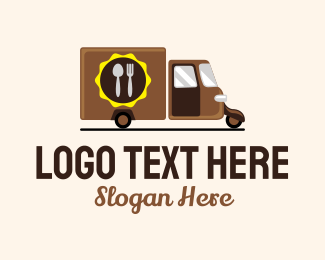 Delivery Service - Food Tuk Tuk Truck Delivery logo design