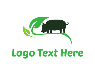 Meat - Green Pig logo design