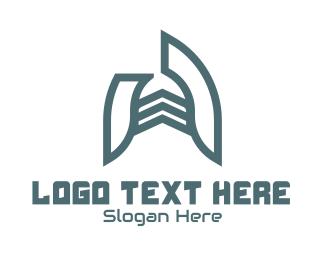 Room - Blue Structural Letter A logo design