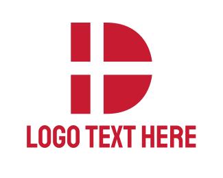 Red Flag - Denmark Letter D logo design