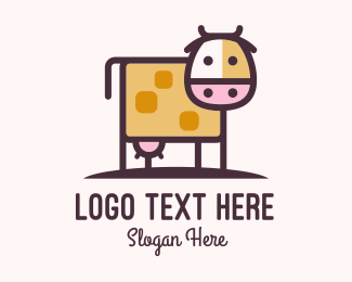 Meat - Cute Cow Milk logo design