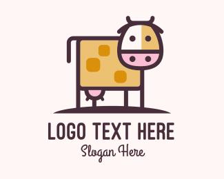 Dairy Farmer - Cute Cow Milk logo design