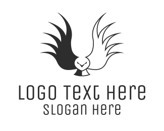 Flying Animal - Black Wild Owl logo design