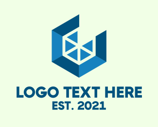 Geometric Hexagon Slice Logo