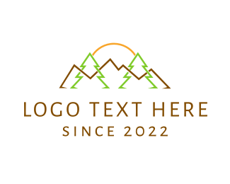Backpacking - Landscape Outlines logo design