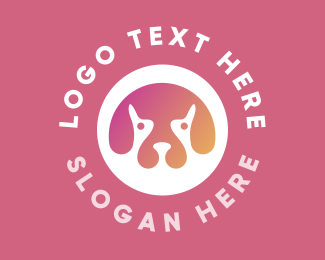 Puppy Dog - Gradient Dog Head logo design