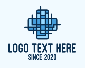 Blue Abstract Medical Doctor Cross logo design