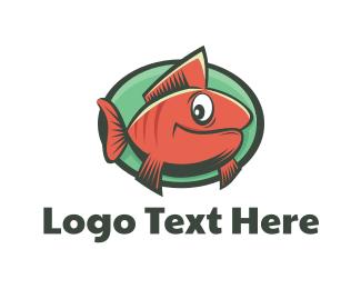 Seafood - Goldfish Cartoon logo design