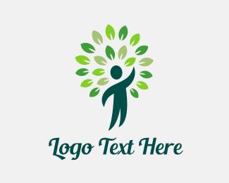 Healing - Green Man Reach logo design