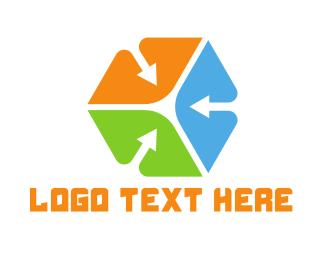 Air Freight - Colorful Arrow Cube logo design