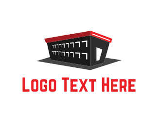 Red Building - Black Warehouse logo design