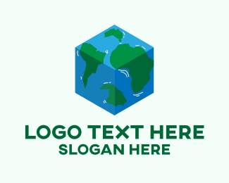 World Map - Cube World Map  logo design