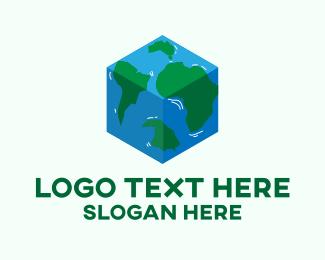 World - Cube World Map  logo design