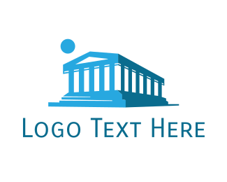 Temple - Blue Abstract Temple logo design