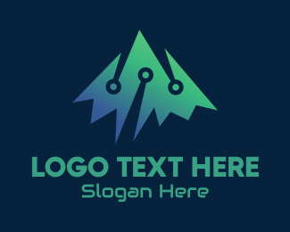 Digital - Digital Mountain Peak logo design