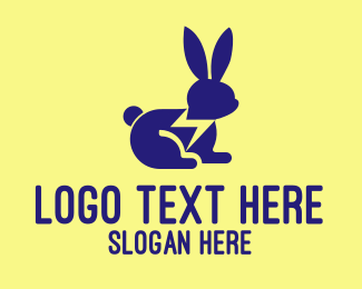 Rabbit Ears - Fast Blue Rabbit logo design