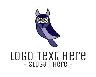 Natural Reserve - Violet Modern Owl logo design