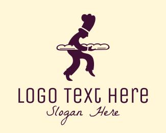 French - Baker Silhouette logo design