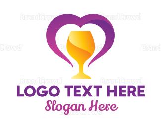 Brunch - Heart Goblet logo design