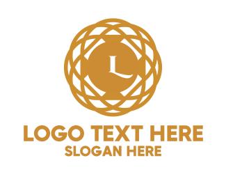 Gold Circle - Golden  Pendant Lettermark logo design