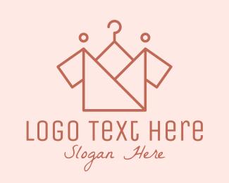 Clothes - Origami Clothing Hanger logo design