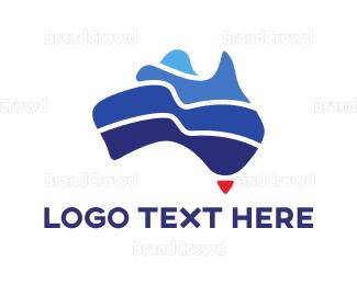 Politics - Blue Australian Continent logo design