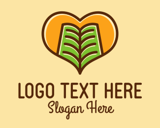 Library - Book Heart logo design