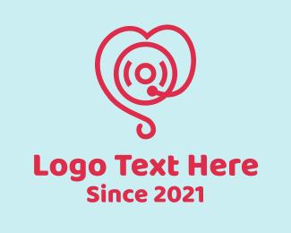 Player - Heart Record Player logo design