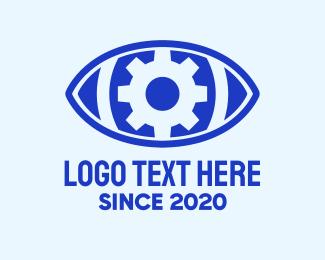 Seeing - Blue Mechanical Eye logo design