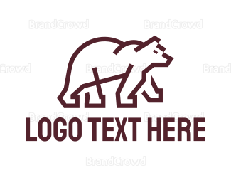 Wildlife - Modern Bear Outline logo design