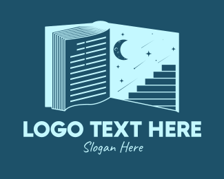 Star Sign - Galaxy Moon Book logo design