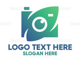 Camera Rental - Green Natural Optical Camera logo design