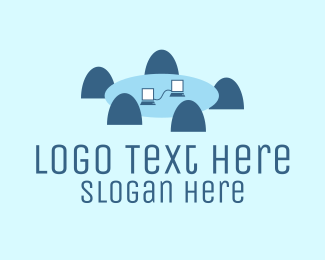 Video Conferencing - Conference Table logo design