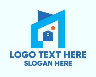 Concept - Blue Geometric House logo design