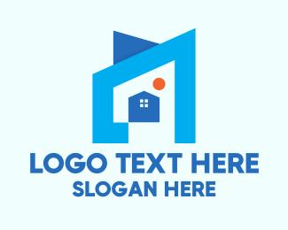 Real Estate House - Blue Geometric House logo design