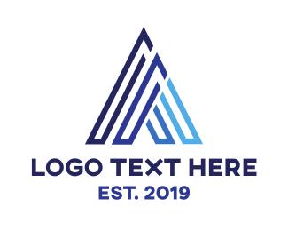 Builder - Triangle Blue A logo design