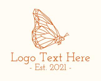 Animal - Orange Butterfly Line Art logo design
