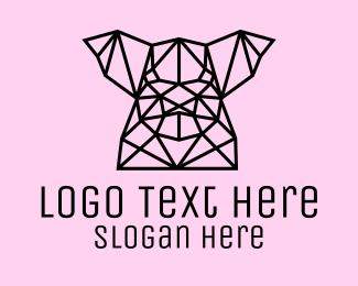 Hog - Simple Pig Line Art logo design