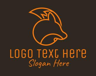 Coyote - Orange Fox Outline logo design
